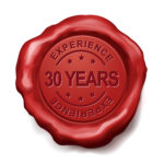 30 years experience red wax seal over white background